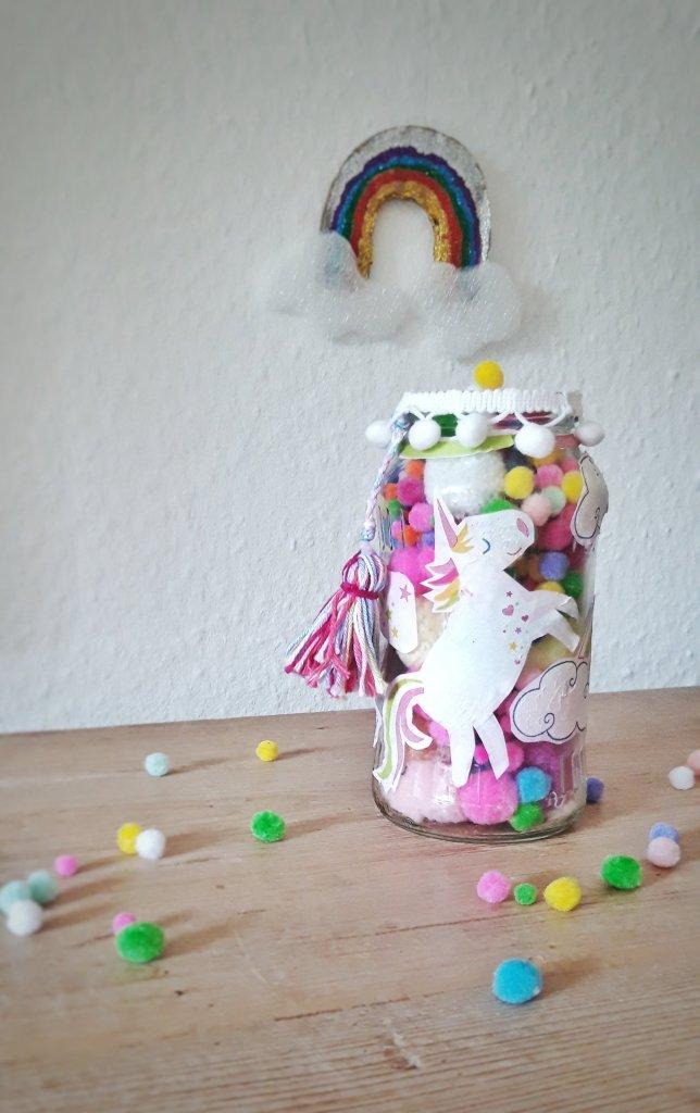 Glasupcycling für Regenbogen Einhornfans