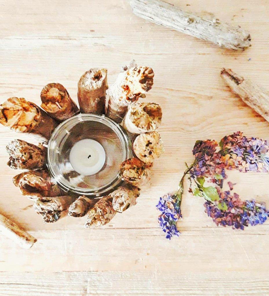 Einmachglas Upcycling mit Holz zur Kerze