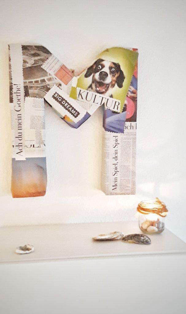 Upcycling DIY Idee mit Klorollen, Karton und Zeitungspapier