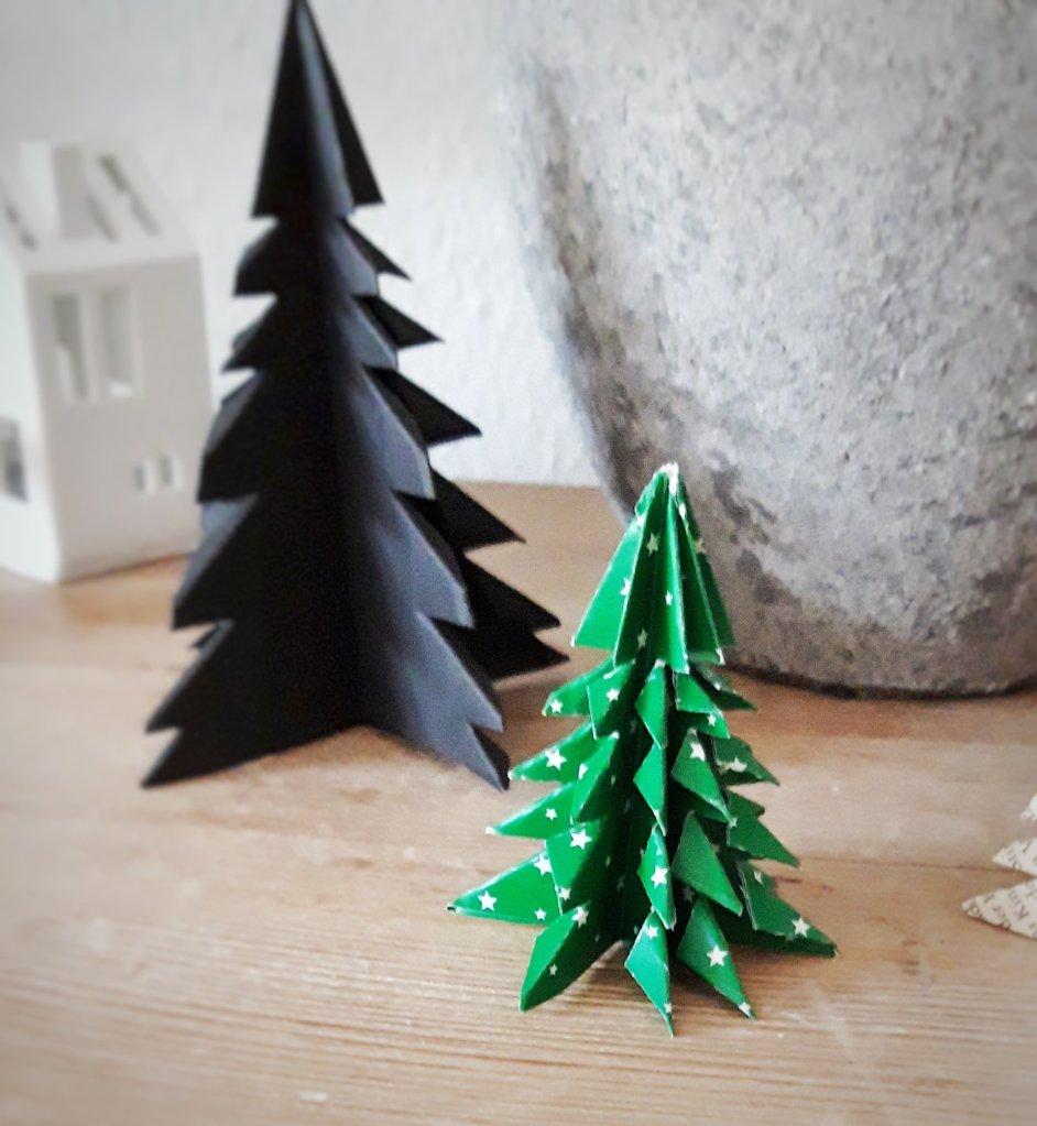 Aus einem rechteckigen Papier und einer Schere entsteht mit ein paar Faltungen ein toller Tannenbaum. Eine schöne weihnachtliche Deko odervein toller Baumschmuck oder kreatives Geschenk.