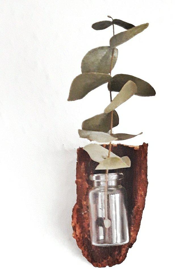 Aus einer kleinen Flasche und einem Stück Rinde lässt sich eine Vase für die Wand basteln.